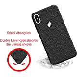 "Leather Case For Apple IPhone X, Case Creation (TM) 100% Transparent Flexible Soft Thin Border Corner Protection With TPU Slim Matte Back Case Back Cover For Apple IPhone X / IPhone 10 / IphoneX / IPhone X (2017) 5.8"" Inch -Color Pitch Black"