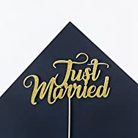 Just Married Wedding Cake Topper Party Decoration. All Glitter Colours.