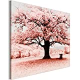 Revolio - Quadro su Tela - Stampa Artistica intelaiato Pronti da Appendere - Dimensioni: 70x50 cm - Albero panchina Rosa