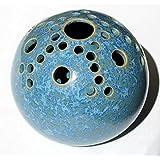 Steckvase rund 11 cm Durchmesser, türkisblaue Kristallglasur