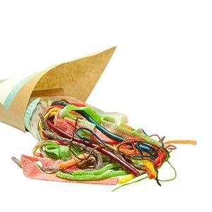 Bandarbeit, 300g Süßigkeiten-Tüte mit Bändern, Schnüren und Fäden aus Fruchtgummi und Marshmallow