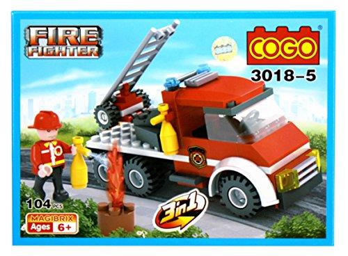 Toyshine ABS Plastic Firefighter and Rescue Blocks Set, Construction Toy, Starter Kit (3018-5, Multicolour)
