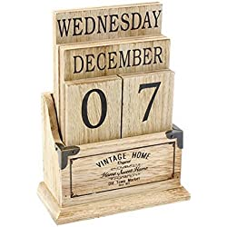 Calendario de escritorio, madera, estilo vintage