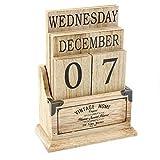 Calendrier perpétuel en bois vintage-Blocs de bureau Calendrier éternelle