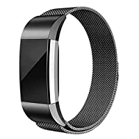 Compatible for Fitbit Charge 2 Bands, Milanese Stainless Steel Mesh Magnetic Metal Bands Replacement Bracelet Strap for Women Men (Large, Black)