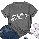 Nlife Women Fashion Brief Drucken Kurzarm Mom of Boys Out Nummerierte T-Shirt Lose Grau Tee