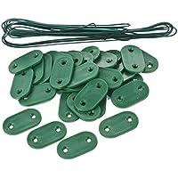 Sodipa 06704 - Kit de fijación, 30 plaquetas, 4m20 alambre, color verde