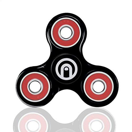 Spin me up / fidget spinner / hand spinner / tri-spinner / fidget giocattolo per adulti e bambini / cuore ceramica nera di alta qualità / 9 colori disponibili (nero - rosso)