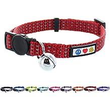 Pawtitas Collar de Gato Reflectante con hebilla de seguridad y cascabel removible Rojo