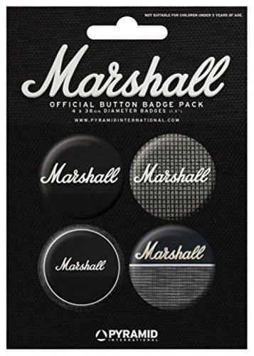 1art1 54319 Marshall Amplification - Amplifiers, Verstärker 4 X 38mm  Buttons Button Pack 15 x 10 cm