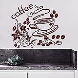Adhesivos de pared del café de la Copa de la etiqueta engomada del vinilo de la decoración del hogar del diseño interior de la panadería de cocina Cafetería Restaurante Mural MN974