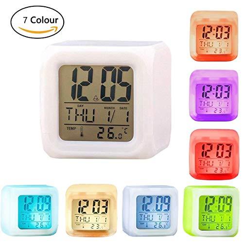 7 couleurs changeantes LED Reveil cube lumineux LCD Horloge veilleus