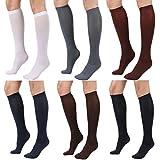 STYLEGAGA Women's Knee High Trouser Sock One Size : Xs To M 6Pair - Black/Darknavy/Darkgray/Brown/Maroon/White