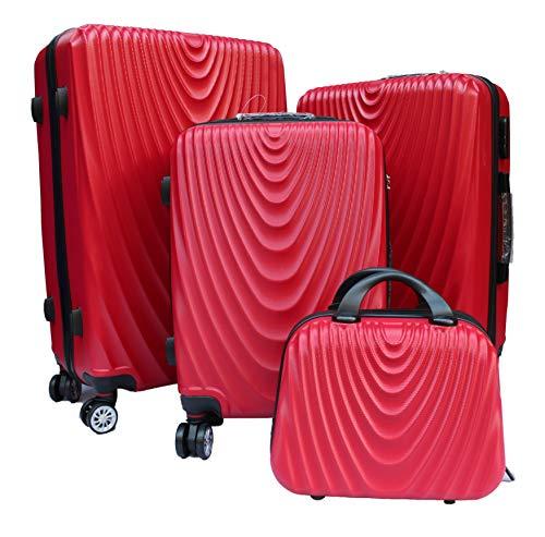 R.Leone Valigia da 1 pezzo Fino a Set 4 Trolley Rigido grande, medio, bagaglio a mano e beauty case 4 ruote in ABS 2011 (Rosso, L Grande)