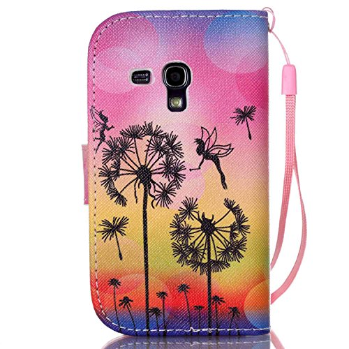 Meet de Samsung Galaxy S3 mini I8190 Bookstyle Étui Housse étui coque Case Cover smart flip cuir Case à rabat pour Galaxy S3 mini I8190 Coque de protection Portefeuille - this iphone is locked slide t Dandelion Ange