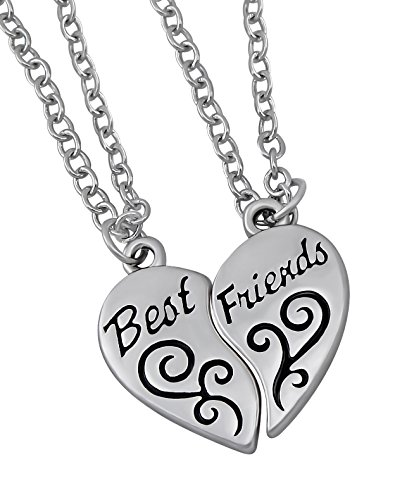 Kinder Lieben-familie 4 Halskette (Hanessa Mädchen-Schmuck 2 Freundschafts-Halsketten mit Best Friends Herz Anhänger Geschenk für die beste Freundin / Frau)