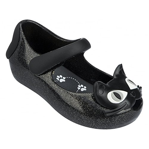 Melissa Shoes Mini Ultragirl Kitty 14, Black Glitter 24 Black Glitter