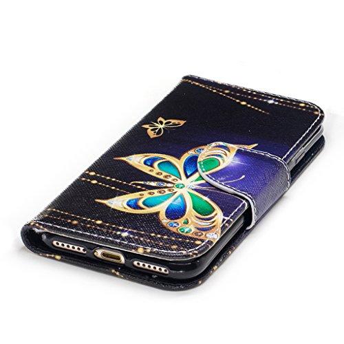 Trumpshop Smartphone Case Coque Housse Etui de Protection pour Apple iPhone 7 (4.7-Pouce) + Don't Touch My Phone (Ourson) + Mode Portefeuille PU Cuir Avec Fonction Support Anti-Chocs Papillons d'or