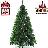Bakaji Albero di Natale MONTEZUMA verde 210 cm Ecologico, Base a Croce in ferro, 1043 Rami innesto ad uncino, Aghi Anti Caduta, Foltissimo