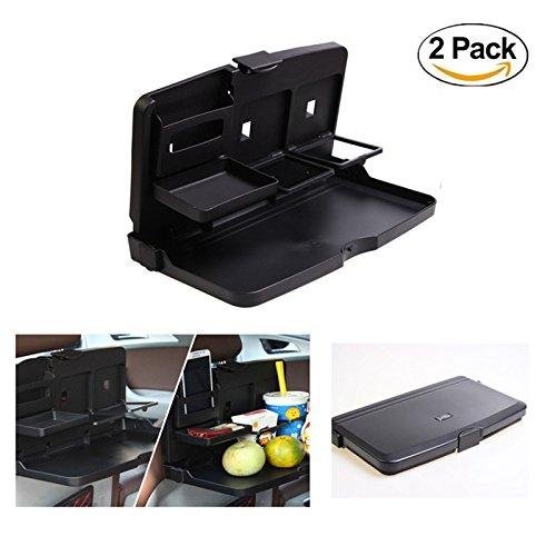 HCMAX 2 Pack Auto Rücksitz Falten Tabelle Essen Fach Trinkbecherhalter Stand Schreibtisch Reise Speise-Tablett Veranstalter Schwarz (Kleinkind Tabelle 3-sitz)