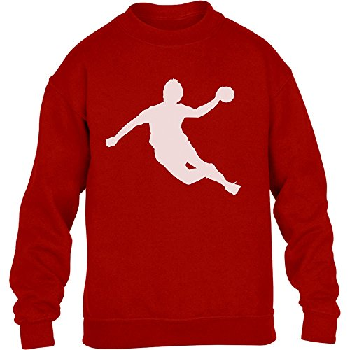 Handball Spieler in Action Silhuetten Fan Geschenk Kinder Pullover Sweatshirt M 140 Rot