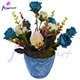 #10: Thefancymart Artificial flowers arrangement of Roses (size 8 inchs/20 cms) with Marble Finish round pot - 1207