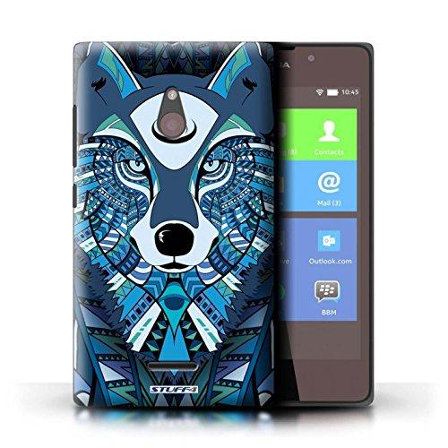 Kobalt® Imprimé Etui / Coque pour Nokia XL / Tigre-Rouge conception / Série Motif Animaux Aztec Loup-Bleu