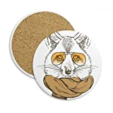 Posavasos de cerámica con diseño de lobo y bufanda de animales de estilo británico, 2...