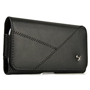 Black Luxmo Stitched Leather Belt Clip Holster Carrying Case for Nokia Lumia 510