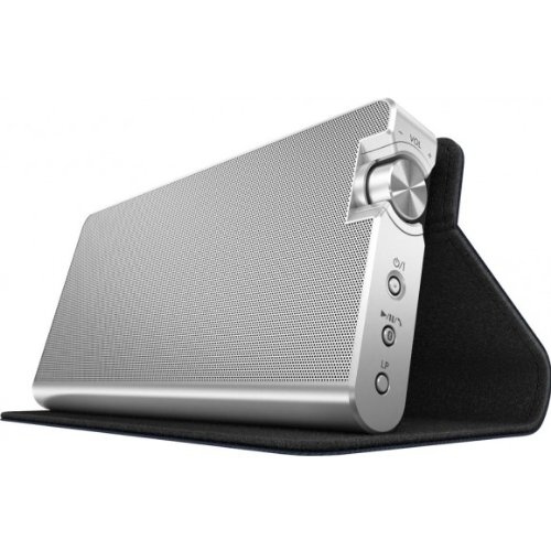 Panasonic SC-NA10EG-A Stereo Bluetooth Lautsprecher silber inkl. Cover in marineblau