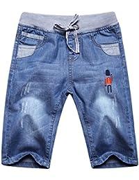 huateng Jeans elásticos de los niños pantalones vaqueros del verano pantalones ajustables pantalones cortos Jeans bebé mameluco