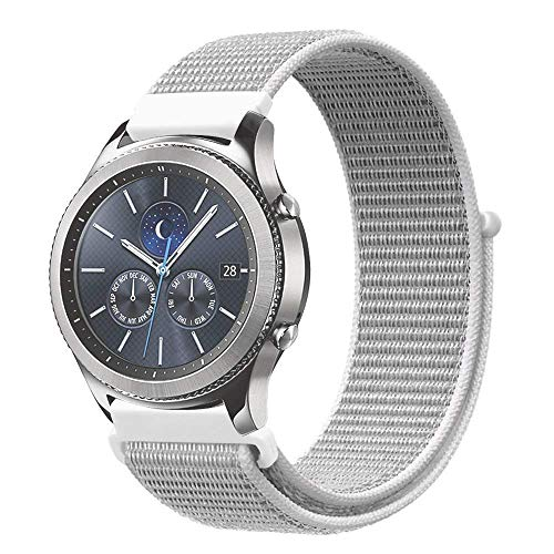 MUEN 22mm Uhrenarmband Nylon Loop kompatible Samsung Galaxy Watch 46mm Smart Watch Armband,Huawei Watch GT Armband Atmungsaktiv Ersatzarmband Zubehör (22mm, Shell weiß) - Nylon-loop-uhr-band 22mm