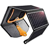 Solar Charger, CHOETECH 24W Potable Solar Panel Charger with Dual USB Ports Waterproof Solar Charger Compatible with Apple iPhone iPad, Android phones, Tablet, Powrbank for Outdoor Travel and Home Use