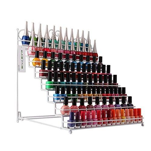 Dazone® Nagellackständer Nagellackdisplay Nagellack Lippenstiftständer Aufbewahrung mit 8 Metall Ablagen (Weiß) -