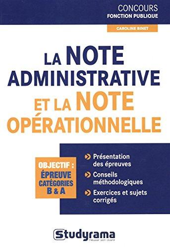 La note administrative et la note oprationnelle