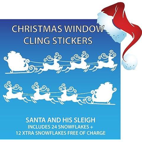 New Babbo Natale con slitta Christmas Window Stickers 50% Xtra 2, motivo: fiocchi di neve
