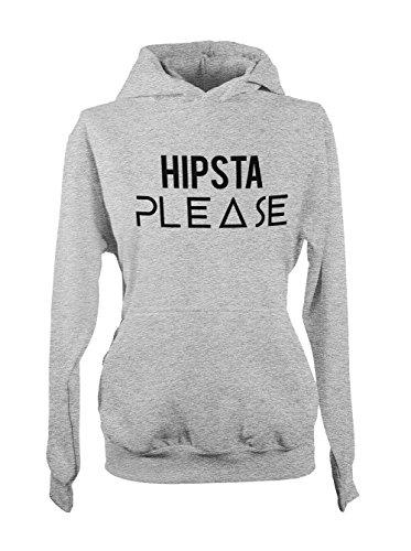 Hipsta Please Swag Hipster Femme Capuche Sweatshirt Gris