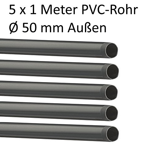 PVC Rohr und Rohrverbinder Ø 50 mm Winkel Kniestück Muffen T-Stück Kappen Fittings (5 x Rohr 1 Meter)