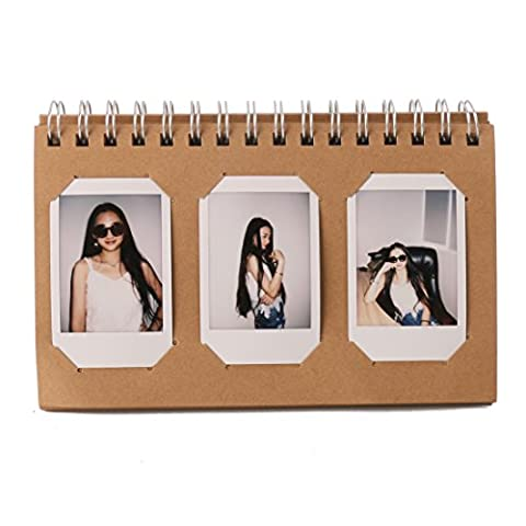 Woodmin 60 poches Calendrier Album photo pour Instax Mini / Pringo 231 / SP 1 / Polaroid PIC-300P / Polaroid Z2300 Film (Brown)