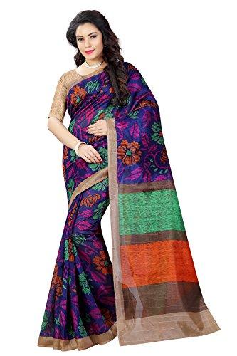 Sugathari Sarees Women\'s Multicolor Mysore Bhagalpuri Art Silk Saree (BHAGALPURI SAREES 28 Sugathari)