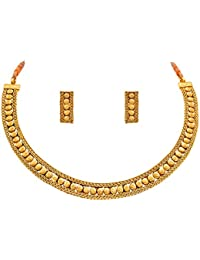 Jfl - Jewellery For Less Traditional And Ethnic One Gram Gold Plated Patta Necklace Set With Earring For Women