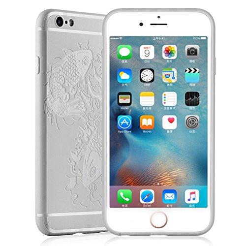 """MOONCASE iPhone 6s Plus Coque -Poisson Creative 3D motif Housse Anti-dérapante Absorbant Chocs Protection Etui Silicone Gel TPU Case pour iPhone 6 Plus / 6S Plus 5.5"""" Gris Gris Poisson"""