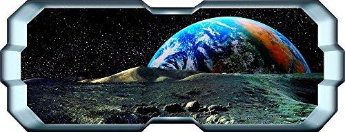 X-large Planeten Erde (Space Planet Fenster Erde Galaxy Stars Full Farbe Art Wand Aufkleber Aufkleber Jungen Schlafzimmer, X Large: 150cm x 57cm (59in x 23in))