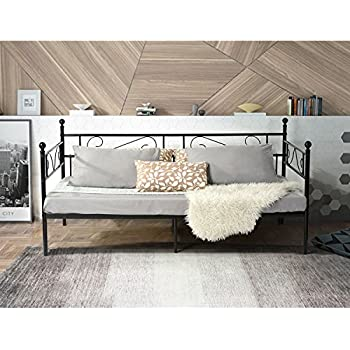 Aingoo Single Day Bed Metal Guest Bed Frame Sofa Bed in Black