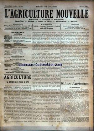 AGRICULTURE NOUVELLE (L') [No 584] du 28/06/1902 - AGRICULTURE PAR TROUDE - BERTHOT - VACHER - GUENAUX - HORTICULTURE PAR MAGNIEN - MOTTET - DE LOVERDO - VITICULTURE PAR CANU - DESMOULINS ET BATTANCHON - L'EXPOSITION D'AVICULTURE DE MADRID PAR BRECHEMIN - LES VIANDES LADRIQUES PAR GEORGE - LES PETITS POIS EN CONSERVESPAR TRITSCHIER - LA TRUITE PAR ZIPEY
