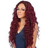 ZiQE long vin rouge frisé de haute qualité,Femmes Longs Ondulés Bouclés Anime Cheveux Cosplay Parti Perruques