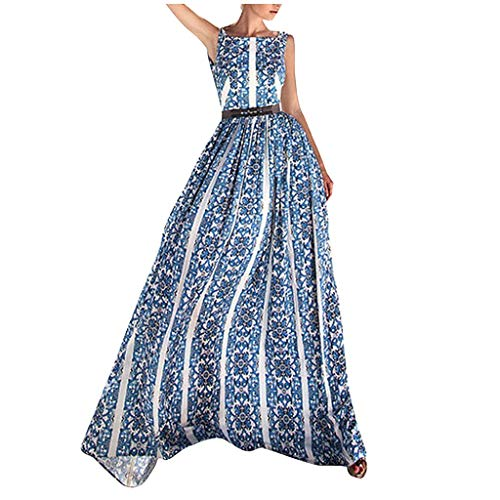 SANNYSIS Sommerkleider Boho Blumen Strandkleider Rückenfreies Damen Langes Festlich Party Abend Swing Kleider Neckholder Rockabilly Kleid Frauen Sommer Dress (S, Blau) -