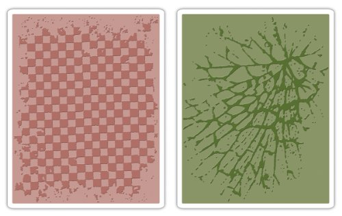 Checkerboard & Cracked Sizzix Texture Fades Embossing Folders By Tim Holtz 2/Pkg