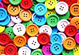 #4: Multicolor Plastic Buttons For Clothing/Sewing Assorted | Pack of 50 | 4 Holes | 1 Cm Diameter