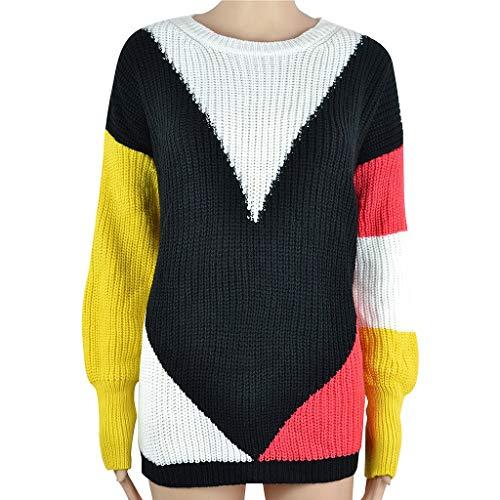 Mode LäSsig Rundhals Pullover Bluse Stricken Warme Pullover Bluse O-Neck Sweater Geometric Strick Patchwork Top Bluse (Black, XL) (Erhalten Sie Es Zusammen Tshirt)